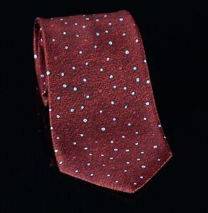 Bvlgari Mens Seven Fold Pizzigoni Tie Size 61X4 Burgundy 100% Silk Dots Italy