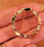 spilla vintage anni 50 oro pietre policrome - retro gold tone stones BROOCH