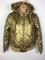 BNWT WOMENS L'URV BRASS GOING FOR GOLD PUFFER ZIP UP HOODED PADDED JACKET SMALL