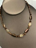 """Vintage Bohemian Exotic Large Wood Beaded Abalone Mop Shell Necklace 14"""" Long"""