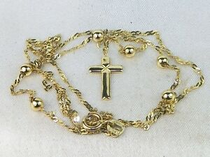 """14k Yellow Gold Beaded Rosary 17.5"""" Religious Cross Chain Necklace"""