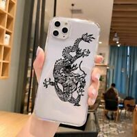 Cartoon Dragon Phone Case Transparent Soft Back Cover For iPhone 12 11 X XS SE