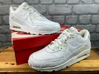 NIKE MENS AIR MAX 90 WHITE FULL LEATHER TRAINERS RRP £100 VARIOUS SIZES