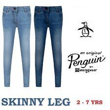 Penguin Girls Skinny Leg Denim Jeans Tapered Ages 3 - 7 Years Dark + Light Wash