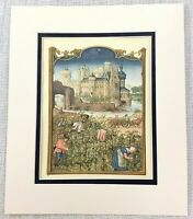 1937 Antique Print Medieval Castle Grape Harvesting Wine Production Vineyard Art