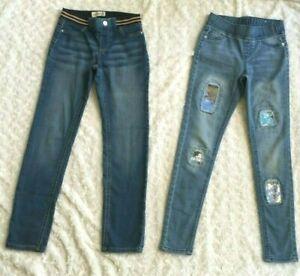 LOT of 2 Girls Blue Stretch Denim Skinny Jeans-Jordache & Justice (Size 10)