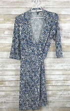 Ann Taylor Womens Dress Sz 10 3/4 Sleeve Multicolor Collared Wrap Dress Stretch