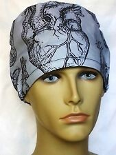 HEART SURGICAL SCRUB HAT THEATRE CAP HAT modified pixie CORD LOCK