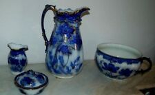 Antique CWS 1872 Flow Blue Chamber Pot Lg Pitcher Soap Dish Toothbrush Wash Set