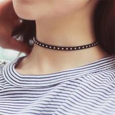 Women Gothic Punk Rivet Studded Leather Choker Chunky Necklace Bracelet VV #CA