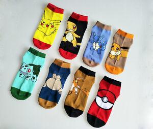 1 Pairs Girls Womens Ankle Cotton Socks Cartoon Pokemon Casual Dress Crew Socks