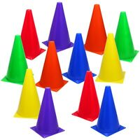 """12 Assorted Color 9"""" Cones Train Like a Champion Soccer Football Agility Traffic"""