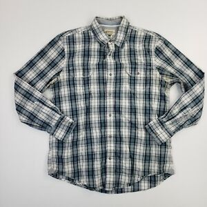 American Rag Men Pearl Snap Check Plaid Button Up Long Sleeve Cotton Shirt Large