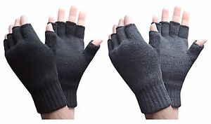 Heat Holders - Mens Warm Knit Outdoor Winter Thermal Lined Fingerless Gloves