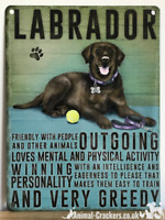 20cm metal vintage style Chocolate Labrador breed character hanging sign plaque
