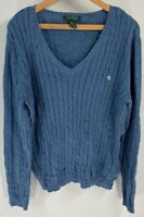 LRL Ralph Lauren Womens Pullover Sweater Cornflower Blue Long Sleeve V Neck XL