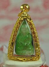 Phra LP Thuad Tuad Leklai Kaew Glass stone metal charms Crystal Thai Top Amulet