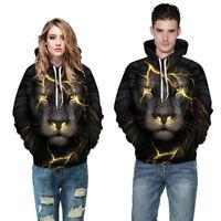 Damen Herren Kapuzenpulli Pullover Sweater Sweatshirt Hoodie 3D Löwe Muster