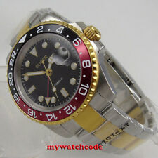 40mm bliger black dial golden case sapphire glass GMT date automatic mens watch