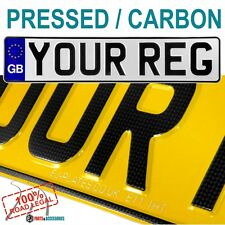 CARBON FIBER font GB badge PAIR PRESSED EMBOSSED CAR NUMBER PLATES 100% Legal