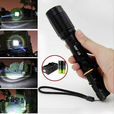 Black Tactical 12000LM Zoomable CREE XML T6 LED Flashlight Lamp&18650&Charger