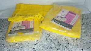 """SET Vtg Yellow Curtains Drapery JCPenney Fashion Manor 48"""" x 45"""" + 2 Valences"""