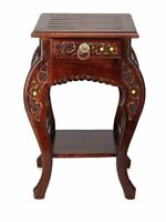 Wooden Hand Carved Side Table, Stool Antique Look