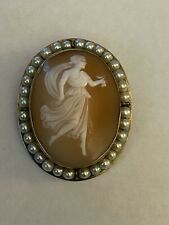 Vintage Pearl Encircled Shell Cameo Brooch Pin or Pendant