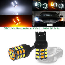 White/Amber Switchback 7443 7444 T20 LED Bulbs For Front Turn Signal&DRL Lights