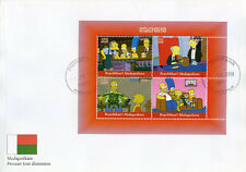 Madagascar 2018 FDC Simpsons Homer Bart Simpson 4v M/S I Cover Cartoons Stamps