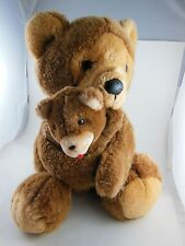 "Adorable Vintage Dakin Teddy Bear Mother & Cub 14"" Korea 1988"