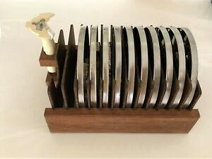 10 Cuisinart DLC-8 Plus Food Processor Discs Blades Stem, Custom Wooden Case