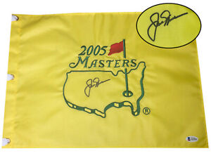 JACK NICKLAUS SIGNED AUTO OFFICIAL 2005 MASTERS FLAG BECKETT BAS COA 13