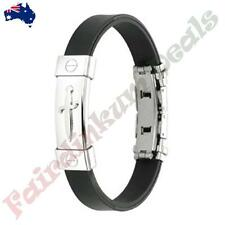 Pirate's Dagger 316L Stainless Steel ID Plate Rubber Straps Bracelet