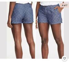 Old Navy Blue Linen Blend Chambray Denim Polka Dot Everyday Shorts Sz 6 New