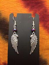 Earrings, angel wings, Tibetan silver plated with multicolor crystal