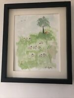 A Flock Of Sheep With Fox Lurking, Original Signed Watercolour, Vintage, Cottage