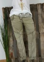 NEU ITALY BAGGY BOYFRIEND CRASH 🍀 HOSE 🍀 PANTS STRETCH WASHED KHAKI S 34 36