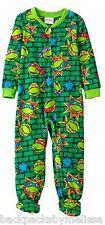 Teenage Mutant Ninja Turtles FACES Pajamas size 4T New Zip-Up Footed Pjs