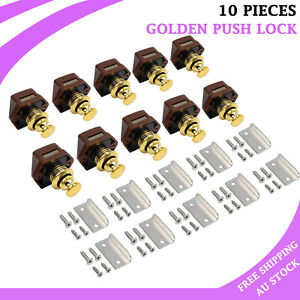 10PCS Push Button Drawer Cupboard Catch Lock For Caravan Cabinet Latch Knob Door