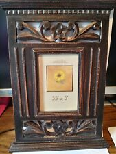 Walnut Brown Distressed Shabby Vintage Style Baroque Wood Entry Frame Floral