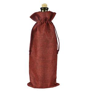 12PCS Rustic Natural Jute Burlap Wine Bags Drawstring Wine Bottle Gift Covers