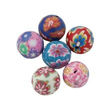 50 Floral Polymer Clay Spacer Beads Charms Findings for Jewelry Making