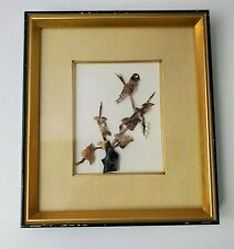 Vintage Framed Asian Carved Mother of Pearl Wall Hanging Home Decor Bird 9 x 10