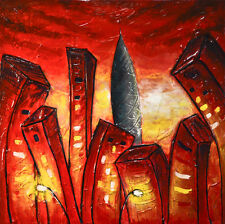 ORIGINAL MODERN CITY FINE ART ABSTRACT URBAN RED OIL PAINTING ~ L. Beiboer