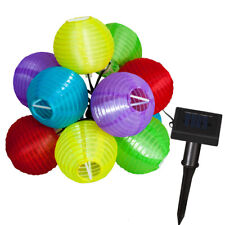 LED Solar Lampionkette 10 er Lampion bunt Party Lichterkette 7,5 m TOP