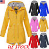 Women's Hooded Plain Raincoat Waterproof Windproof Coat Jacket Casual Outwear US