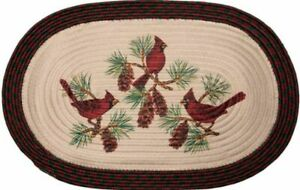 """Braided Oval Rug Winter Christmas Cardinals Birds Pinecones 20"""" x 30"""" Holiday"""