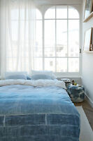 300TC Bedding House Tones Blue 100% Cotton Quilt Doona Cover Set - QUEEN KING
