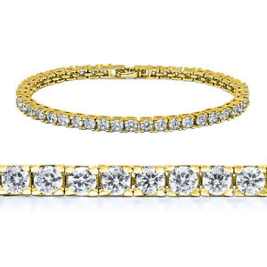 Hot Selling! 1 Row Lab Diamond 14K Gold & White Gold Plated Tennis Bracelet